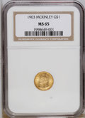 Commemorative Gold: , 1903 G$1 Louisiana Purchase/McKinley MS65 NGC. NGC Census:(351/404). PCGS Population (480/498). Mintage: 17,500. Numismedi...