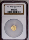 California Fractional Gold: , 1872 50C Indian Round 50 Cents, BG-1048, Low R.4, MS66 Deep MirrorProoflike NGC. ..