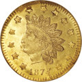 California Fractional Gold, 1874/3 50C Indian Round 50 Cents, BG-1052, High R.4, MS65 ProoflikeNGC. ...