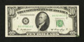 Error Notes:Obstruction Errors, Fr. 2011-B $10 1950A Federal Reserve Note. Very Fine+.. ...