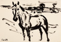 Fine Art - Work on Paper:Drawing, FRITZ WINKLER (German, 1894-1964). Group of 3 Brush and InkDrawings of Farm Animals (Stallion in landscape, 1929;Hor...