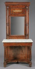 Furniture : Continental, AN ITALIAN NEOCLASSICAL WALNUT MIRROR AND CONSOLE WITH MARBLE TOP.Possibly Rome, Early 19th Century. 100-1/2 x 47 x 23-1/4 ...(Total: 2 Items)