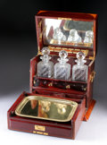 Furniture : English, AN ENGLISH INLAID MAHOGANY SERVING SET. Late 19th Century. Lock stamped: Bramah. 14 x 15-3/8 x 11-1/4 inches (35.6 x 38....