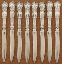 A SET OF AMERICAN SILVER FRUIT KNIVES Tiffany & Co., New York, New York, circa 1898 Marks: TIFFANY & CO., ST