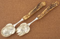 Silver Flatware, American:Other , AN AMERICAN SILVER AND STAG HORN SALAD SERVING SET. Maker unknown,circa 1880. Marks: STERLING, THEODORE B. STARR. 15 in...(Total: 2 Items)