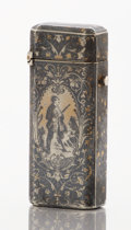 Silver Smalls:Match Safes, A FRENCH SILVER, SILVER GILT AND NIELLO MATCH SAFE. Makerunidentified, circa 1890. Marks: (CRT over mullet in diamond),(Mi...