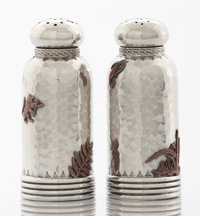 A PAIR OF AMERICAN SILVER AND MIXED METAL SALT AND PEPPER SHAKERS Gorham Manufacturing Co., Providence, Rhode Isla