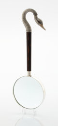 Silver Smalls:Other , A FRENCH SILVER AND WOOD MAGNIFYING GLASS. Mark unidentified, 20thcentury. Marks: STERLING, (two undeciphered marks). 1...