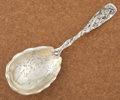 Silver Flatware, American:Gorham, A AMERICAN SILVER AND SILVER GILT SERVING SPOON. GorhamManufacturing Co., Providence, Rhode Island, circa 1885. Marks:(lio...