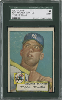 1952 Topps Mickey Mantle #311 SGC Authentic