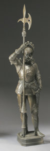 Bronze:Contemporary, A LARGE PATINATED METAL KNIGHT. 87-1/2 inches (222.3 cm) high. ...