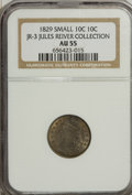 Bust Dimes: , 1829 10C Small 10C AU55 NGC. JR-3. Ex:Jules Reiver Collection. NGCCensus: (16/192). PCGS Population (15/135). Mintage: 77...