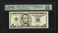 Error Notes:Inking Errors, Fr. 1990-E $5 2003 Federal Reserve Note. PMG About Uncirculated 55 EPQ.. ...