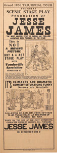 Western Expansion:Cowboy, Two-Sided Printed Broadside for a Stage Play about the Life ofJesse James, Circa 1930....