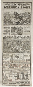 Western Expansion:Cowboy, Two-Sided Printed Broadside for the Wild West and Great ForepaughShows and Wheeling & Lake Erie Railroad Excursion to the...