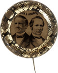 Political:Ferrotypes / Photo Badges (pre-1896), Tilden & Hendricks: Choice Large 1876 Ferrotype. ...