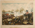 "Antiques:Folk Art, ""Battle of New Orleans"" Full Color Chromolithograph Art Print...."