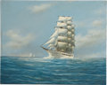 "Antiques:Decorative Americana, Painting: Jay Arnold, ""Sail and Steam""...."