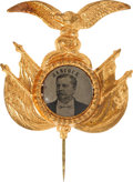 Political:Ferrotypes / Photo Badges (pre-1896), Winfield S. Hancock: Choice, Fancy 1880 Ferrotype Pin....