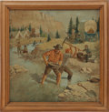 Western Expansion:Goldrush, Painting: Untitled Painting of a Gold Camp, Circa 1930....