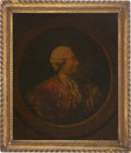 Antiques:Posters & Prints, King George III: Hand Tinted Portrait on Sheet Glass....