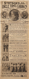 "Antiques:Posters & Prints, ""Stetsons Big Double Uncle Tom's Cabin Co."" Two-Sided Printed StagePlay Broadside, Circa 1910...."