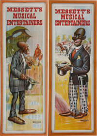 """Messett's Musical Entertainers"" Pair of Large Full Color Minstrel Show Advertising Posters"