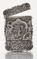 Silver Smalls:Other , A VICTORIAN SILVER CARD CASE. Nathaniel Mills, Birmingham, England,1885-1886. Marks: (lion passant), (anchor), (duty mark),...
