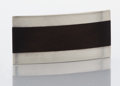 Silver & Vertu:Smalls & Jewelry, A MEXICAN SILVER AND WOOD BUCKLE. Sigfrido Pineda, Taxco, Mexico, circa 1970. Marks: Sigi, (eagle 3), STERLING HECHO E...