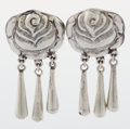 Estate Jewelry:Earrings, A PAIR OF MEXICAN SILVER EARRINGS. Ricardo Salas, Taxco, Mexico,circa 1980. Marks: Matl, M.REGIS, 142093, MEXICO 925, MS-...(Total: 2 Items)