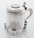 Silver Holloware, Continental:Holloware, A CONTINENTAL SILVER PEG TANKARD. Unidentified maker, possibly Danish, 1746. Marks: various effaced marks, partial dated mar...
