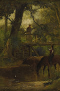 Fine Art - Painting, American:Antique  (Pre 1900), SAMUEL L. GERRY (American 1813-1891). Tarrying at the Brook.Oil on panel. 9 x 6 inches. Signed lower left. Titled a...