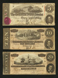 Confederate Notes:Group Lots, $5; $10; and $20 Confederate Notes.. ... (Total: 3 notes)