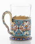 Silver Holloware, Continental:Holloware, A RUSSIAN SILVER GILT AND CLOISONNÉ ENAMEL TEA CUP HOLDER. FeodorI. Rückert, Moscow, Russia, circa 1900. Marks: FR (in ...(Total: 2 Items)