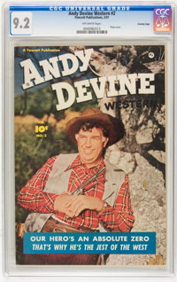 Andy Devine Western #2 Crowley Copy pedigree (Fawcett, 1951) CGC NM- 9.2 Off-white pages