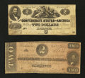 Confederate Notes:Group Lots, Confederate $2 Tandem.. ... (Total: 2 notes)
