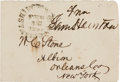"Autographs:Statesmen, Sam Houston Free Franking Signature, ""From/ Sam Houston"".One envelope, 3.75"" x 2.5"", though the postmark is mildly sme..."
