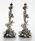 Silver Holloware, Continental:Holloware, A PAIR OF ITALIAN SILVER FIGURAL CANDLESTICKS. Mario Buccellati,Rome, Italy, 20th century. Marks: MARIO BUCCELLATI, BUCCE...(Total: 4 Items)