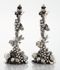A PAIR OF ITALIAN SILVER FIGURAL CANDLESTICKS Mario Buccellati, Rome, Italy, 20th century Marks: MARIO BUCCE