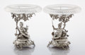 Silver Holloware, British:Holloware, A PAIR OF VICTORIAN SILVER AND GLASS FIGURAL DESSERT STANDS. JohnSamuel Hunt, London, England, 1853-1854. Marks: (lion pass...(Total: 2 Items)