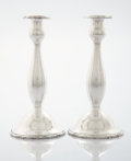 Silver Holloware, American:Candle Sticks, A PAIR OF AMERICAN SILVER CANDLESTICKS. Gorham Manufacturing Co., Providence, Rhode Island, 1912. Marks: (lion-anchor-G), ... (Total: 2 Items)