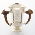 Silver Holloware, American:Loving Cup, AN AMERICAN SILVER AND SILVER GILT STAG HORN TROPHY. GorhamManufacturing Co., Providence, Rhode Island, 1908. Marks: (lion-...