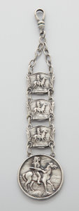 Jewelry, AN AMERICAN SILVER WATCH FOB. Maker unknown, circa 1880. Unmarked. 4-7/8 x 1-1/4 inches (12.4 x 3.2 cm). .64 troy ounces. ...