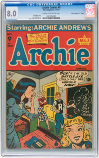 "Archie Comics #9 Davis Crippen (""D"" Copy) pedigree (Archie, 1944) CGC VF 8.0 Cream to off-white pages"