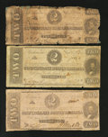 Confederate Notes:1862 Issues, Three Different Benjamin $2s.. ... (Total: 3 notes)