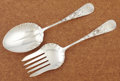 Silver Flatware, American:Whiting, AN AMERICAN SILVER SERVING SPOON AND FORK. Whiting ManufacturingCompany, New York, New York, circa 1880. Marks: (griffin wi...(Total: 2 Items)
