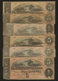 Confederate Notes:1864 Issues, T69 $5 1864 Six Examples.. ... (Total: 6 notes)