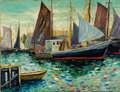 Fine Art - Painting, American:Contemporary   (1950 to present)  , GEORGE LOFTUS NOYES (American, 1864-1954). GloucesterHarbor, 1951. Oil on canvas. 14-1/4 x 18-1/4 inches (36.2 x46.4 c...
