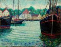 Fine Art - Painting, American:Contemporary   (1950 to present)  , GEORGE LOFTUS NOYES (American, 1864-1954). GloucesterHarbour , 1951. Oil on canvas. 14-1/4 x 18-1/4 inches (36.2 x46.4...