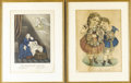 Prints:American, CURRIER & IVES. Pair of prints: The Mother's Dream andWillie and Mary. Colored prints. 15in. x 10-3/4in.. ...(Total: 2 Items)